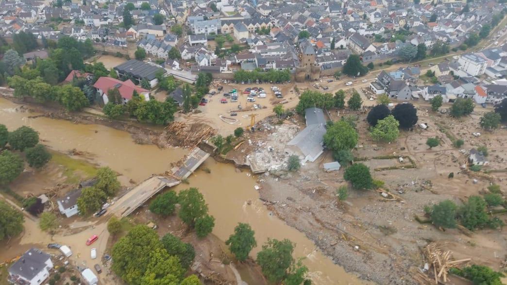 Luftahúfnahme der Zerstörung durch die Flutkatastrophe