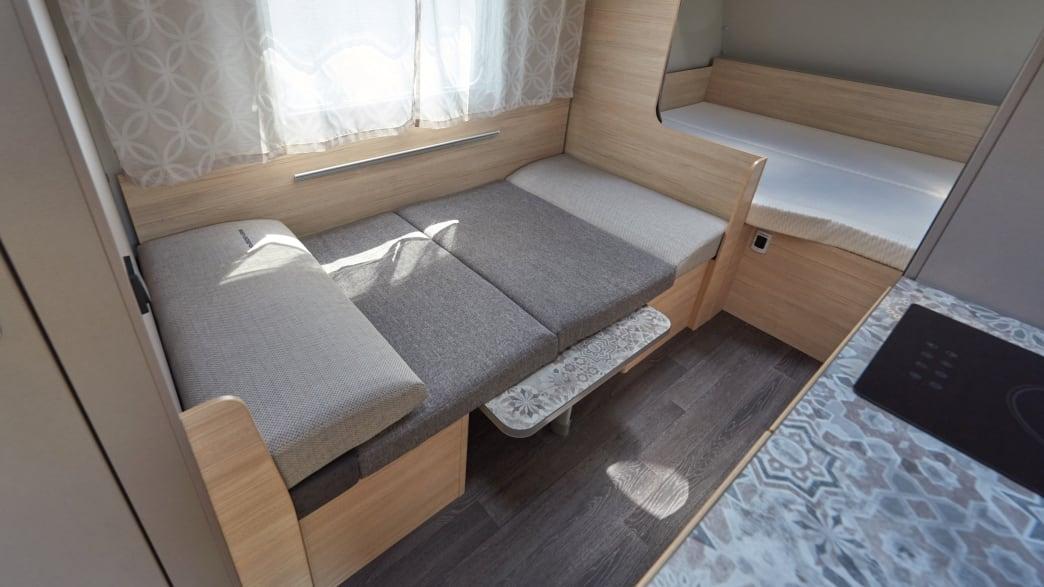 Liegefläche im Weinsberg CaraCito 470 QKD Caravan