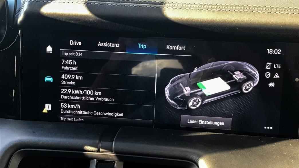 Display eines Porsche Taycans