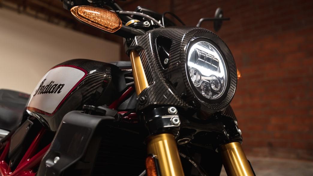 Lenker und Licht vom Motorrad Indian FTR R Carbon