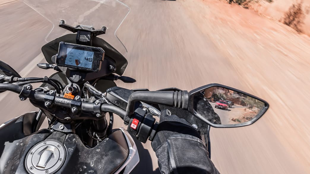 Rückspiegel einer KTM 790 Adventure