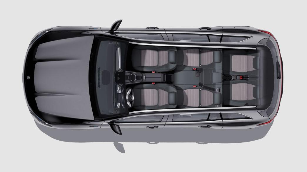 Sitzanordnung im Mercedes EQB Siebensitzer