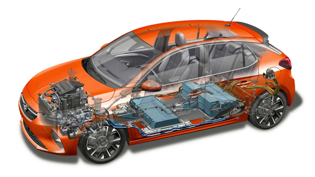 Schnittzeichnung des Opel Corsa Elektro