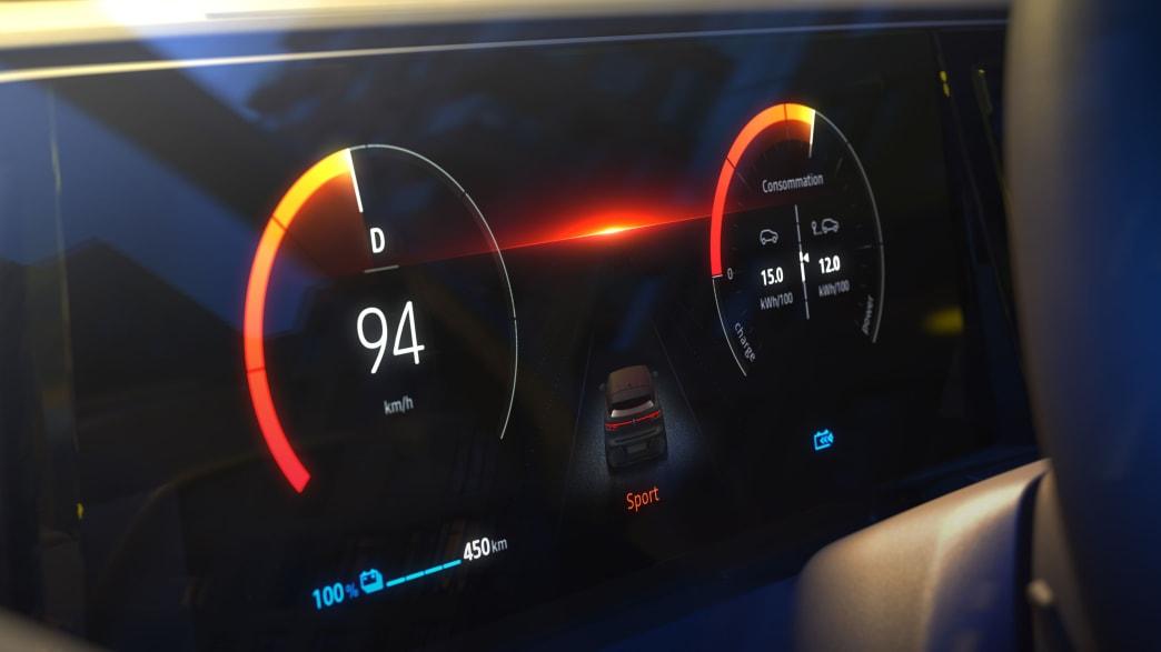 Die digitale Anzeige eines Renault Megane E-Tech