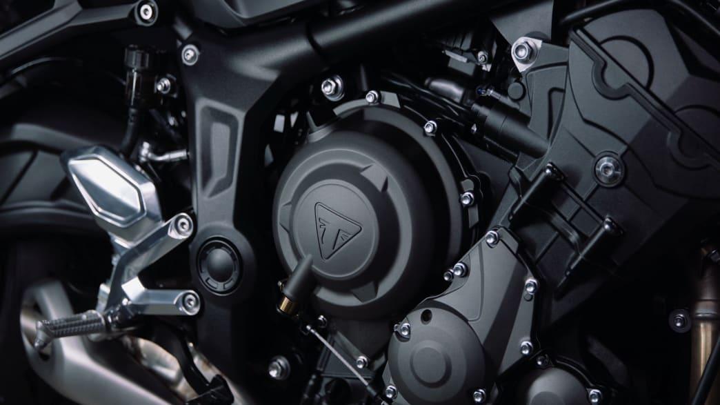 Der Motor der Triumph Trident 660 seitlich