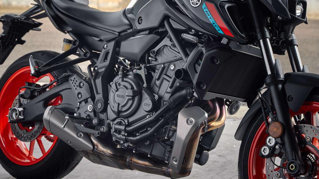 Die Reifenansicht eines Yamaha MT-07 Motorrads