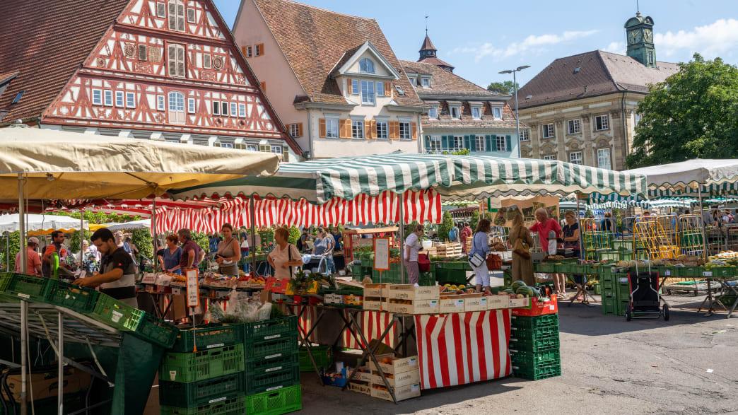 Wochenmarkt auf dem Marktplatz von Esslingen