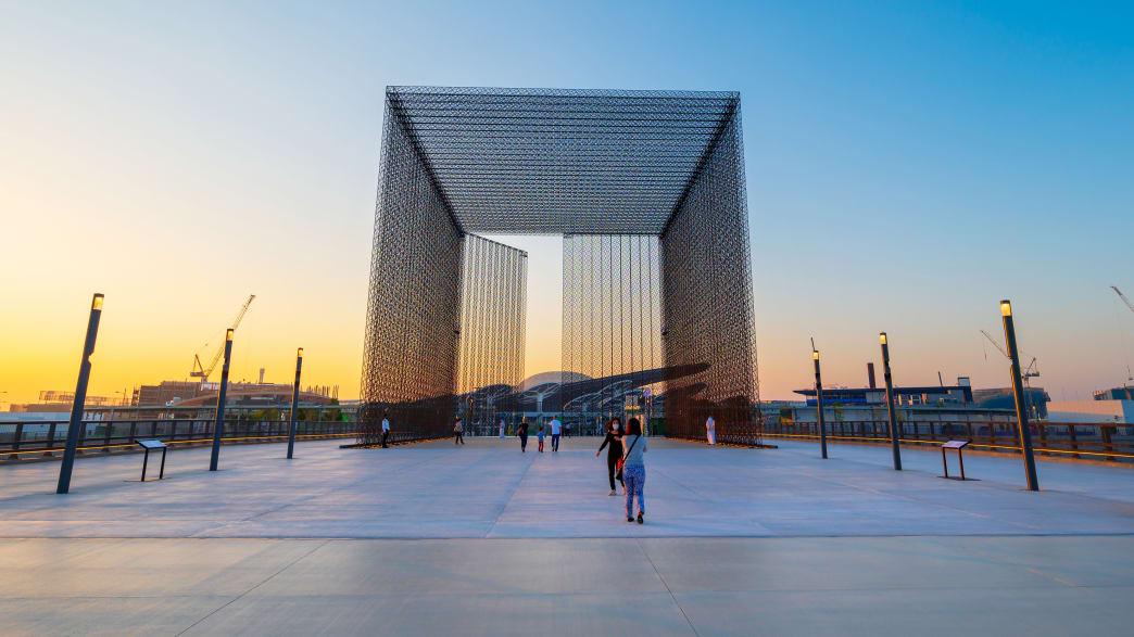 Eingangstor des Terra Sustainability Pavillions der Expo2020 in Dubai