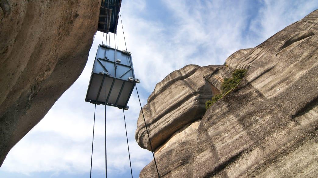 Aufzug zum Kloster auf Meteora in Griechenland