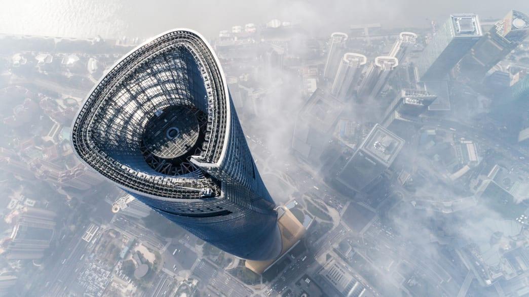Luftaufnahme des Shanghai Tower