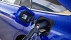 Die Tankklappe des Wasserstoffautos Toyota Mirai