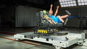 Aufnahme während eines Wohnmobilcrashs, Test der Rücksitzbank