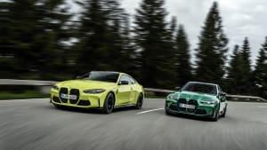BMW M3 und BMW M4 fahrend von vorne
