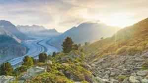 Übersicht von Aletschgletscher im Wallis, in der Schweiz und den umliegenden Bergen
