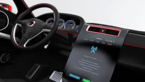 generiertes Bild eines mordernen Auto-Cockpits mit Display, das gerade ein Software Update anzeigt