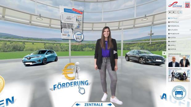 Das virtuelle E-Autohaus bietet Informationen rund um das Thema E-Mobilität in acht Erlebniswelten