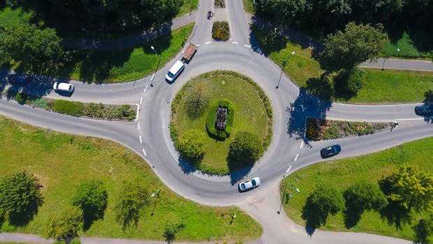 Kreisverkehr aus der Vogelperspektive