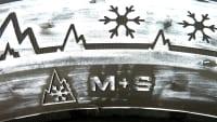 Detail von der Beschriftung eines Winterreifens der das Geschwindigkeitssymbol für den Speed-Index anzeigt