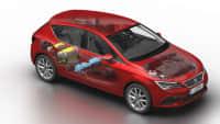 Roter Seat Leon mit Erdgas Antrieb  im Röntgenblick Das Innenleben ist zu sehen.