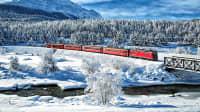 Die Rhaetische Bahn fährt durch die Schweiz, durch den Stazer Wald