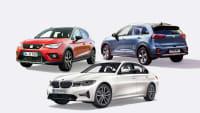 Seat Arona TGI Erdgas, Plug-in-Hybrid Kia Niro und BMW 330e Plug-in-Hybrid auf einer Collage emissionsarmer Kleinwagen