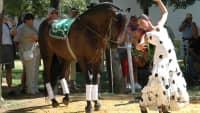 Flamenco-Tänzerin mit Pferd in Sevilla