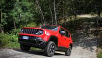 Jeep Renegade Plug-in Hybrid fährt bergauf auf einem Waldweg
