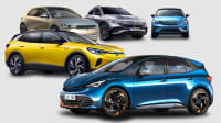 Collage aus Cupra, Volkswagen, Hyundai, Mercedes und Volvo zur Marktübersicht der Elektroautos