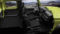 Der Susuki Jimny von innen mit eingeklappten Rücksitzen