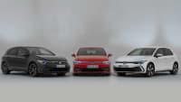 Die Drei neuen VW Golf Modelle von links nach rechts Golf GTD, Golf GTI und rechts der Elektro Golf GTE