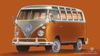 orangen VW T1 stehend