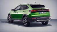 Der VW Taigo in grün von hinten seitlich zu sehen