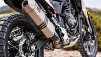 Nahaufnahme des Auspuffs der Yamaha Tenere 700 Modell 2019