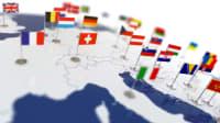 Länderflaggen auf einer Weltkarte
