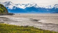 See auf der Halbinsel Kenai mit Bergblick