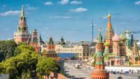 ick auf den Moskauer Kreml und die Kathedrale St. Basil in Russland