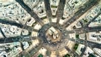 Luftaufnahme Arc de Triomphe am Charles de Gaulle Platz