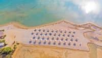 Luftaufnahme eines Strands in Nin, Kroatien