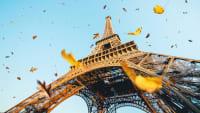 Herbstblätter fallen neben dem Pariser Eiffelturm