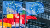 Europaflaggen wehen im Wind