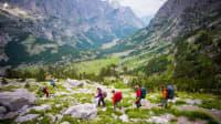 Wanderer im Prokletije Gebirge in Albanien