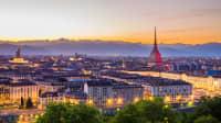 Skyline von Turin im Abendrot