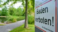 Baden Verboten Schild an der Spreelagune Lübben