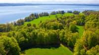 Luftaufnahme des Bernrieder Parks mit Blick auf den Starnberger See