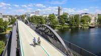 Fahrradautobahn auf einer Eisenbahnbrücke in Mühlheim an der Ruhr