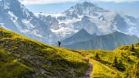 Wanderer am Jungfraujoch in der Schweiz