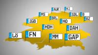 Kfz-Kennzeichen auf einer Deutschlandkarte