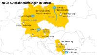 Neue Autobahneröffnungen in Europa