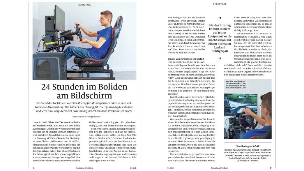 Die Sim-Racing-Geschichte des NRW-Regionalmagazins (Herbst-Ausgabe) der ADAC Motorwelt