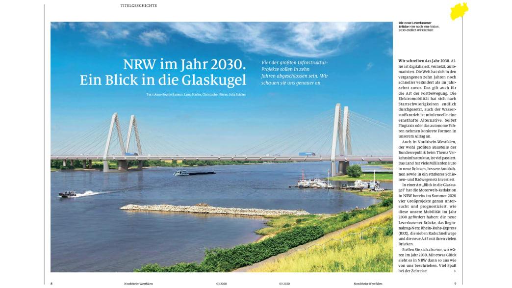 Die Titelgeschichte des NRW-Regionalmagazins (Herbst-Ausgabe) der ADAC Motorwelt